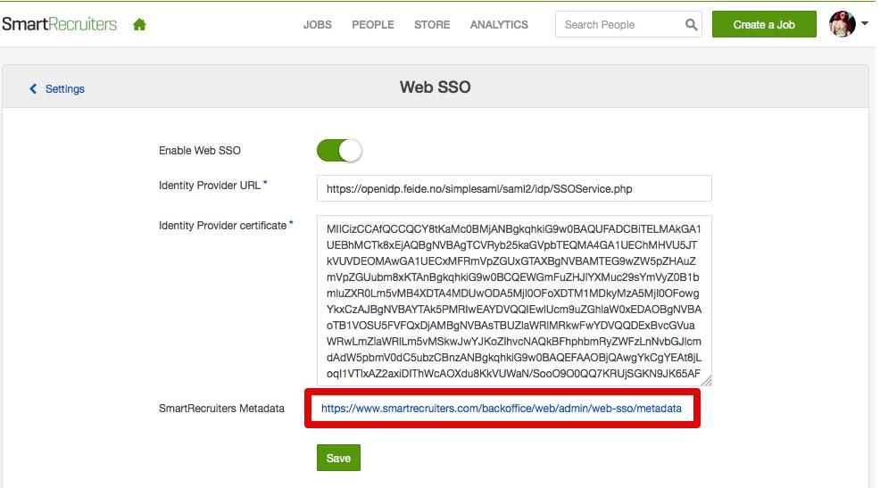 SmartRecruiters Web SSO metadata